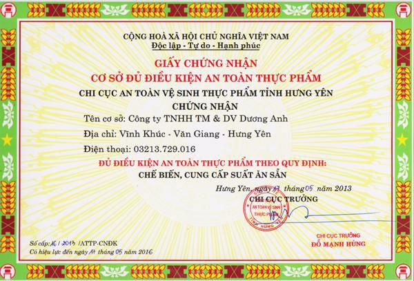 Giấy phép cơ sở đủ điều kiện vệ sinh thực phẩm cho bếp ăn tập thể tại khu công nghiệp Nghệ An