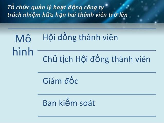 Cơ cấu tổ chức công ty TNHH 2 thành viên tại Nghệ An